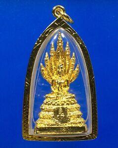Thai Antique Phra Naga Prok Buddha Grace Amulet Talisman Magic Lucky Micron Case