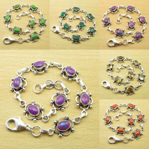 MULTIGEMS Bracelet ! 925 Silver Plated PURPLE COPPER TURQUOISE & Many Colors
