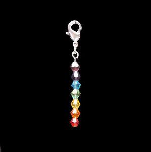 Chakra Coloured Crystal Bag / Clip Charm using Swarovski Elements