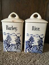vintage barley & rice ceramic canisters blue windmill delft germany