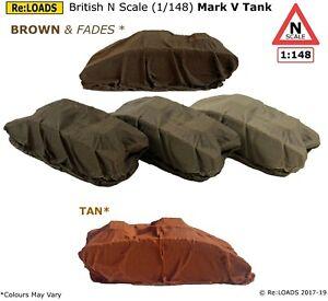 BROWN, TAN Tarped Sheeted WW1 Mark V Tank, 1/148 British N Gauge Wagon Loads