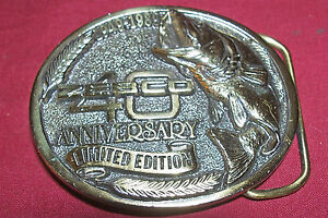 Vintage Zebco Fishing 40th Anniversary Limited Edition Belt Buckle Reel Old Mens