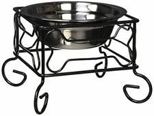 NEW YML 5 Inch Wrought Iron Stand with Single Stainless Steel Feeder Bowl