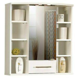 Spiegelschrank Badezimmerspiegel Weiß Mit  LED-Leuchtmittel