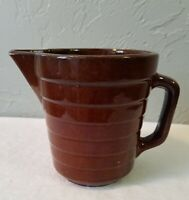 Small Vintage USA Marked Brown Ribbed Art Pottery Pitcher