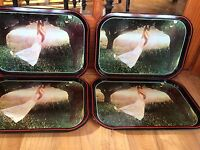 Set Of 4 Vintage Metal Girl Swinging On A Branch Lap TV Trays