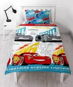 DISNEY CARS 3 LIGHTNING DUVET - KIDS BOYS BEDROOM BLUE SINGLE BEDDING CHILDRENS