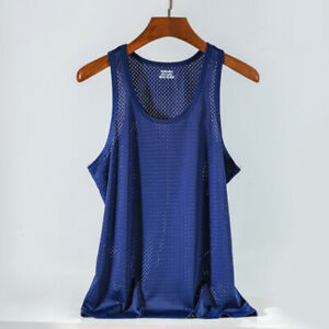 Men's Ice Silk Mesh Hole Vest Narrow Shoulders Sports Quick-Drying Tops T-shirts