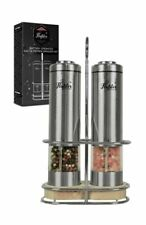 Battery not Included VARIPOWDER Electric Pepper Grinder or Salt Mill,Battery Operated Stainless Steel Pepper Mill with Light,Adjustable Ceramic Sea Salt Grinder /& Pepper Mill Set,2 Pack