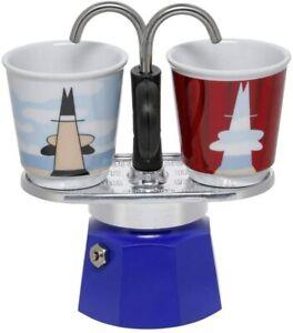 Bialetti Mini Express Magritte, Kaffeemaschine + 2 Schnapsgläser, 2 Tassen