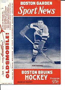 1956-57 Boston Bruins-Canadiens Program B's Thump Habs NICE!!