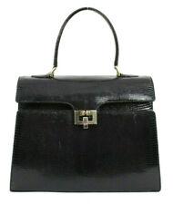 GUCCI Vintage Black Lizard Skin Top Handle Kelly Satchel Bag