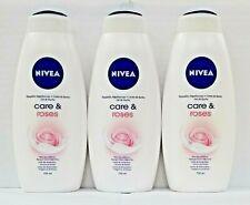 3PCS-Nivea Moisturizing Shower Gel Body Wash Care and Roses Scent 750ml Bottle