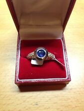NEW 18CT W/Y Blue Sapphire & Pave Set Diamond S.S Ring Size O
