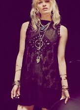 NWT Free People Angel Lace Gauze Shirt Dress Black XS S Open Back Art Deco Boho