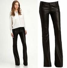 Sexy Office Womens Faux Leather Bell Bottom Trousers Mid-Waist Slim Pants Casual