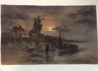 early 1900s Signed Art Moon Landscape Painting Fisherman Sailboat Shore Cottage