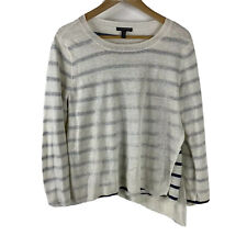 Eileen Fisher Sweater Large Petite Ivory Navy Stripe Double Layer Bateau Neck