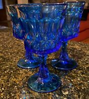 """Noritake PERSPECTIVE BLUE 6 1/2"""" Water Goblets Set of 3"""