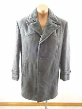 WM H LEISHMAN MENS GRAY WOOL BLEND FUR LINED COAT JACKET SIZE 40