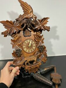 Vintage ENGSTLER Germany Black Forest ? Classic Cuckoo Wall Clock a