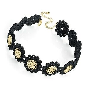 Black lace & gold disc design Choker Necklace Gothic Vintage Hippy Punk Boho