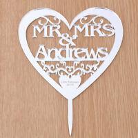 Mr and Mrs Heart Cake Topper Acrylic Personalised Wedding Keepsake Decoration