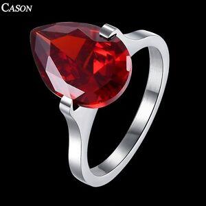 Women Teardrop Cubic Zirconia 316L Titanium Stainless Steel Wedding Ring Jewelry
