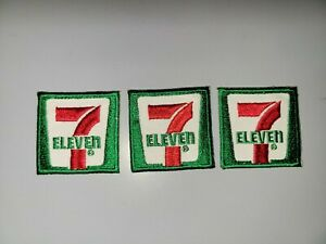 """LOT OF 3 """"7"""" ELEVEN   EMBROIDERED IRON ON PATCHES 1.75""""X1.75"""""""