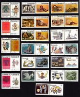 INDIANS, INUITS - ABORIGINAL Canada 1972-1980 MNH-VF Set of 18 Pairs q09