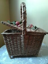 Vintage 1940's Wicker Woven Picnic Basket Footed  Purse Decorated Fruit