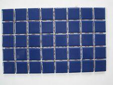 "1"" square Glazed Ceramic Mosaic Tiles - 40 pieces - Navy Blue"
