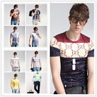 New Fashion Men's Print Short Sleeve T-Shirts Casual Slim Fit Summer Graphic Tee