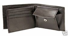 New Mens Bifold Leather Wallet Multi Zipper Id Window Coin Pocket 756 Dark Brown