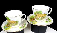 """DUCHESS CHINA ENGLAND COUNTRY COTTAGE FLOWER GARDEN 4 PIECE 3"""" CUP & SAUCERS"""