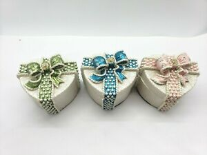 Heart Shaped Gift Box Trinket White Pink Blue Green Pearl Bow Ceramic Stones