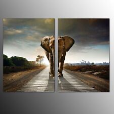 FRAMED Wall Art for Home Decor Giclee Canvas Painting Print Big Elephant-2pcs