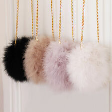 Women Fluffy Real Feather Round Clutch Fur Bag Chain Purse Chic Vogue Light Gray
