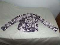 LIZ CLAIBORNE WOMEN'S BLUE WHITE FLORAL BUTTON FRONT JACKET SIZE MEDIUM