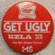 Vintage KZLA Radio - Miller High Life - Multiple Sclerosis Event Pin - Button
