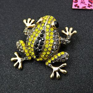 Betsey Johnson Popular Yellow Crystal Frog Animal Rhinestone Brooch Pin Gift