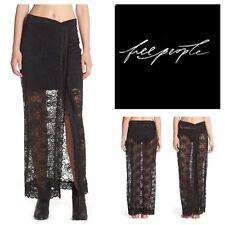 New Free People Intimately Lace Maxi Skirt Nylon Black Size XS $118