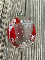 "Vintage Glass Tear Drop Hand Painted Santa Christmas Ornament Sparkle 5"""