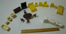 Large group of Marx hard plastic dollhouse furniture. Bathroom, kitchen, living