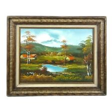 Original Framed Oil Painting Valley Mountain Prairie Houses Trees Signed W Melly
