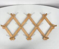 Wood Accordion Scissor Coat Hat Wall Hanging Rack 10 Peg Hooks Expandable Decor