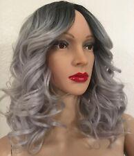 silver gray wig Medium Length Ombré Curly Wavy Layered 14 Inch Heat Ok Grey