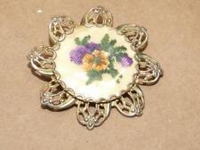"VTG 50s Filigree Gold Aluminum & Embroidered Needlepoint Flower Pin Brooch 1.75"""