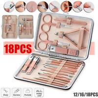 Rose Gold Manicure Set Nail Clipper Scissors File Tweezers Pedicure Xmas Gifts
