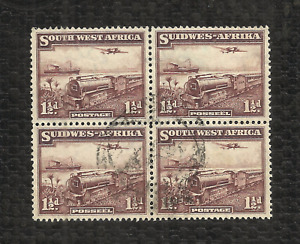 SOUTH WEST AFRICA - 1937 - 1-1/2d MAIL TRANSPORT SERIES - NG - CTO - BLOCK OF 4